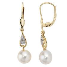 Ohrringe Ohrhänger 2 Diamanten 2 Süßwasser Perlen 585 Gelbgold Boutons 30612