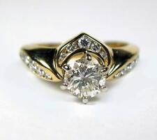 Diamond SI1 Engagement ring wedding band SET 1.26CTW SOLITAIRE 14K Yellow Gold