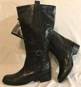 Ladies Black Knee High Leather Lovely Boots Size 7 (447QQ)