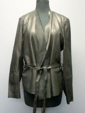 SET URBAN DELUXE Black Soft Leather Long Sleeves Open Front Blazer Sz 10 DD0381