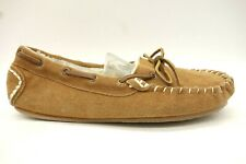 Clarks Brown Leather Faux Fur Lined Moccasin Deck Boat Slippers Shoes Womens 8 M