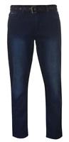 PIERRE CARDIN Web Belt Mens Jeans Vintage Dark 30L  *REF106