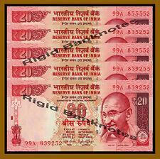 5 Pcs x India 20 Rupees, 2014 P-103 New Rupee Symbol Unc