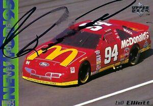 BILL ELLIOTT NEW FOR 95 UPPER DECK 1995  AUTOGRAPHED CARD