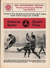 DDR-Liga 87/88 ZEPA Sajonia anillo Zwickau-ASG hacia adelante Dessau, 27.03.1988