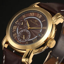 Kronen&Söhne Luxury Golden Case Brown Leather Date Mechanical Men's Wrist Watch