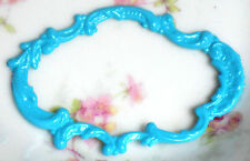 #1491Q Vintage Findings Connectors Victorian Jewelry Frame Blue Component Metal