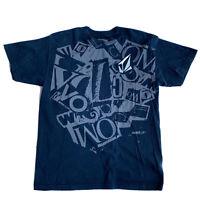 VTG 90's 00's VOLCOM Skater T-Shirt Men's Large L Navy Blue Stone All Over Print