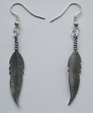 Earrings #2206 Pewter FEATHER (39mm x 7mm)