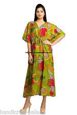 Indian Cotton Green Kaftan Women Beach Wear Gown Tunic Floral Caftan Dress Boho