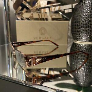 Versace Eyeglasses Rose Gold Brown Tortoise Frames 1084 Excellent Condition!
