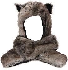 Animal Wolf Hoodie Hat Faux Fur 3 In 1 Function Cap Warm Hooded Hat