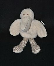 Peluche doudou oiseau pélican HAPPY HORSE beige gris rayé éponge 21 cm TTBE