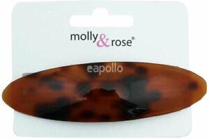Ladies Girls Kids 9.5cm Tortoise Shell Effect Oval Hair Barrette Clip Grip Slide