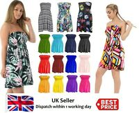 WOMENS LADIES PLAIN BOOB TUBE SHEERING BANDEAU TOP SUMMER  DRESS Plus Sizes