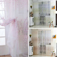 Tulle Door Window Floral Drape Divider Panel Valances Scarf Sheer Voile Curtain