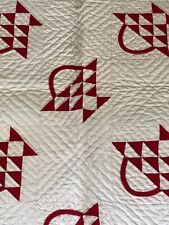 Antique Hand Pieced Hand Quilted Red White Basket Quilt 57 by 58
