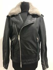 All Saints Ladies Velo Short Leather Jacket. Black. Shearling Collar. Size 10 UK