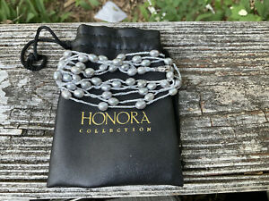 PEARL NECKLACE STRAND STRING SILVER GRAY HONORA