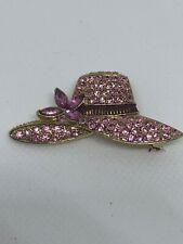 Signed MONET VTG LADIES HAT w FLOWER BROOCH Pin Pink Purple Rhinestone