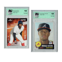 Ronald Acuna 2018 Rookie Cards 2-Pack Leaf HYPE! #1 / Topps Living PGI 10