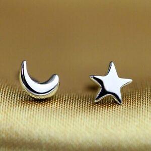 Womens Girls 925 Sterling Silver Mini Moon Star Stud Earrings Jewellery Gift UK