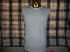 Nike Pro Combat Dri-Fit Sleeveless Men's White Tank Top Fitted T Shirt sz M