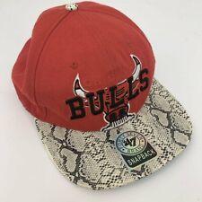 Rojo Vintage Chicago Bulls Baloncesto Gorra de Piel de serpiente