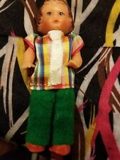 Vintage German rubber Eds  Dollhouse Doll boy school boy with backpack.