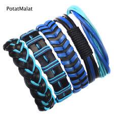 Blue Bracelet Braided Bracelets -F22 PotaMalat 5Pcs Handmade Mens Leather Woven