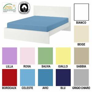 Lenzuolo con angoli elasticizzati 90-100 x 200 cm, azzurro cielo 100/% cotone Leevitex in jersey