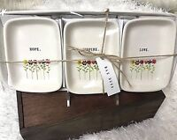 Rae Dunn 4 Piece Set Hope, Inspire, and Love w/Flowers Tray/Trinket Set NEW Rare