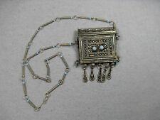 Ancien collier/pendendif, boite à coran, Argent, Berbère/Maghreb/Islam turquoise