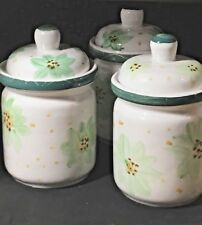 Canisters Storage Containers Stoneware Jars Set of 3 Coffee Tea Sugar Kitchen
