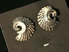 NAVAJO DIAMOND CUT SHELL EARRINGS STERLING SILVER POST SIGNED (M)