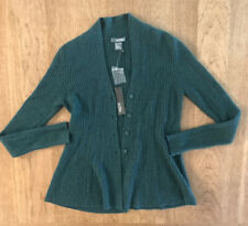 Griffen Cashmere 100% Cashmere Green Ribbed Peplum Hem Cardigan NWT S $118