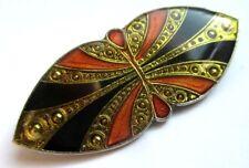 Originale broche art déco couleur or argent émail cloisonné bijou vintage 5106