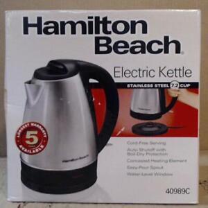 NEW OPEN BOX Hamilton Beach 40989C 1.7 L Cordless Stainless Steel Kettle