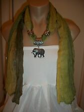 SCARF PENDANT NECKLACE  SHAWL WRAP SILVER TONE ELEPHANT GREEN COLOR NEW JEWELRY