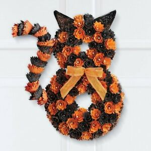 Glittered Orange and Black Carved Wooden Cat With Bow Halloween Door Wreath