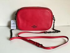 COACH POPPY RED PEBBLED LEATHER ISLA CHAIN CROSSBODY SLING MESSENGER BAG $295