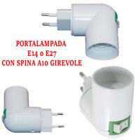 Adattatore Portalampada E27 o E14 Spina A10 Girevole Interruttore Lampada 3049