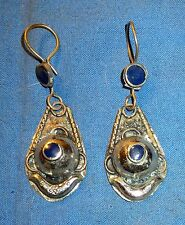 Earrings Teardrop Lapis Afghan Kuchi Tribal Alpaca Silver 1 1/4""