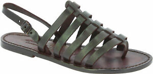 Handmade thong strappy sandals shoes for women dark brown leather Made in Italy