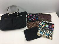 LeSportsac LOT of 8 Black Nylon Tote Weekender + 7 Zippered Pouches Makeup Bags