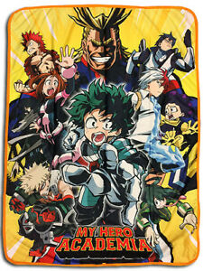 **Legit** My Hero Academia All Might Group Authentic Anime Throw Blanket #57885