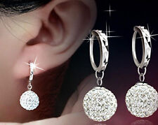 OL Fashion White Silver Full Crystal Rhinestone Ball Drop Ear Stud Hoop Earrings