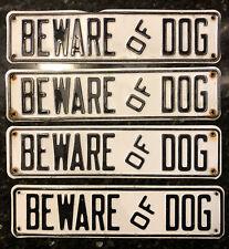 Beware Of Dog Signs x4 Embossed Metal