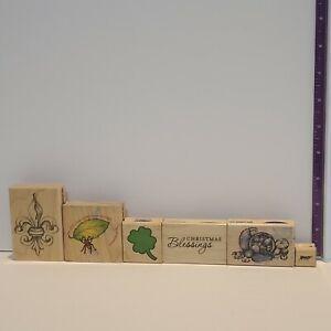 Stampabilities lot Of 6 Christmas Cornucopia Clover Ant fleur-de-lis stamp