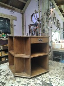 Lovely Oak Bookcase Table. Art Deco Hexagonal Library with Drawer On Wheels
